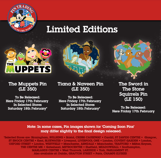 Disney Store UK Pin Releases February 2012