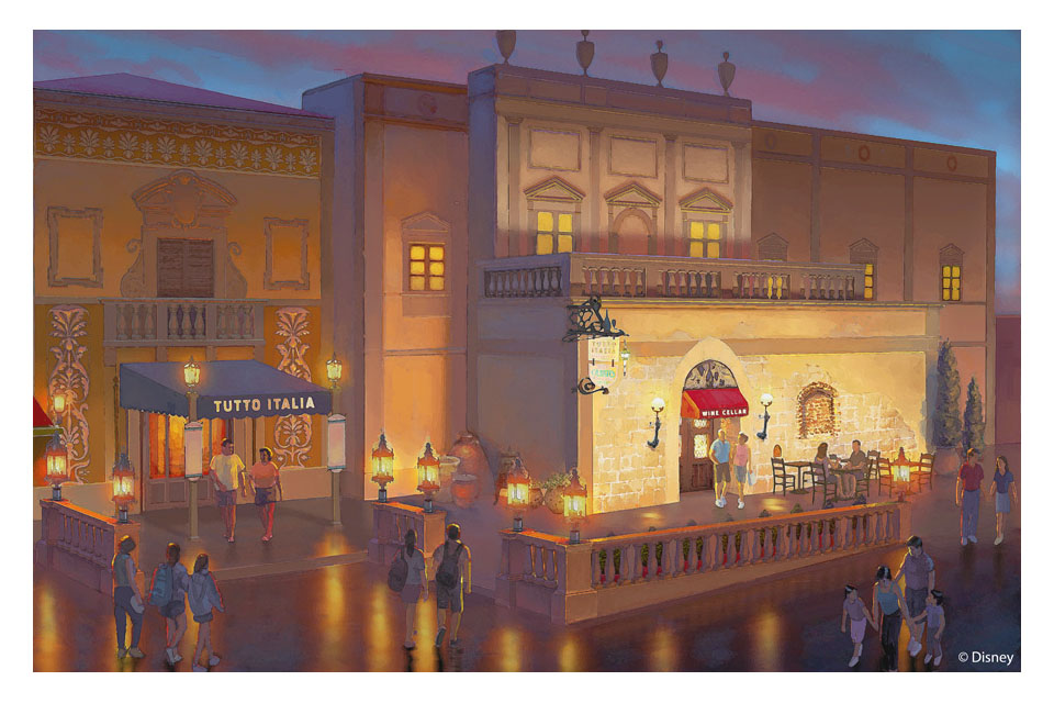 Concept Art Released for the Italy Pavilion's new Wine Bar
