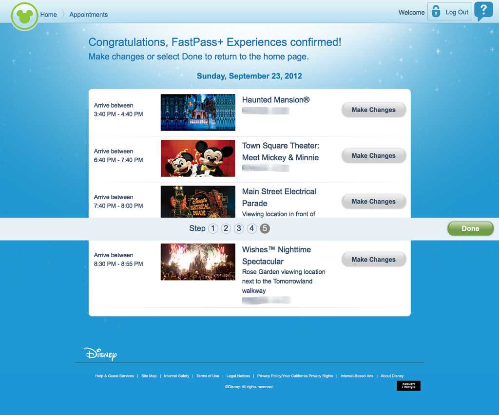 FASTPASS+ Advance Experience Reservation Test