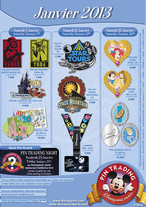 Disneyland Paris Pins January 2013