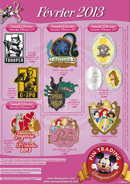 Disneyland Paris Pin Releases February 2013