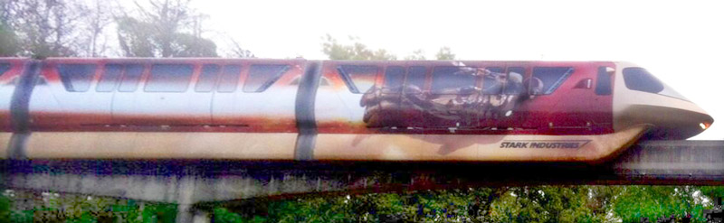 Iron Man 3 Monorail wrap in service.